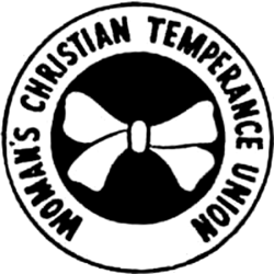 Logo of Womens Temperance Union, a circle with a white bow on a black background