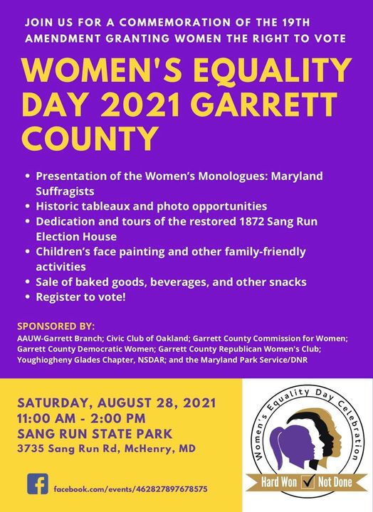 purple and orange graphic that lists the events and location of Women's Equality Day, details in text