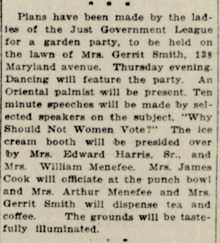 A newspaper clipping that Describes a garden party to be held for the Cumberland Just Government League. Various hostess roles were to performed by Cumberland socialites