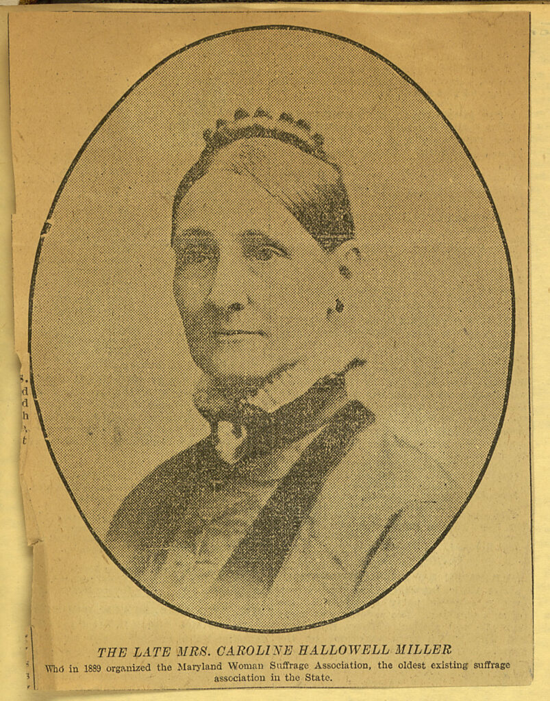 newsprint, sepia color portrait of Caroline Hollowell Miller. high necked collar, looking at camera