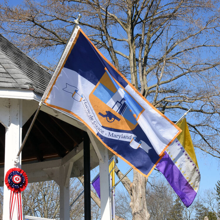Havre de Grace flag flying from Tydings Park gazebo