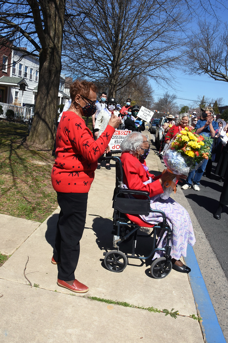 During the parade the crowd y stopped along Union Avenue to sing happy birthday to resident Mabel Hart, who was turning 102.