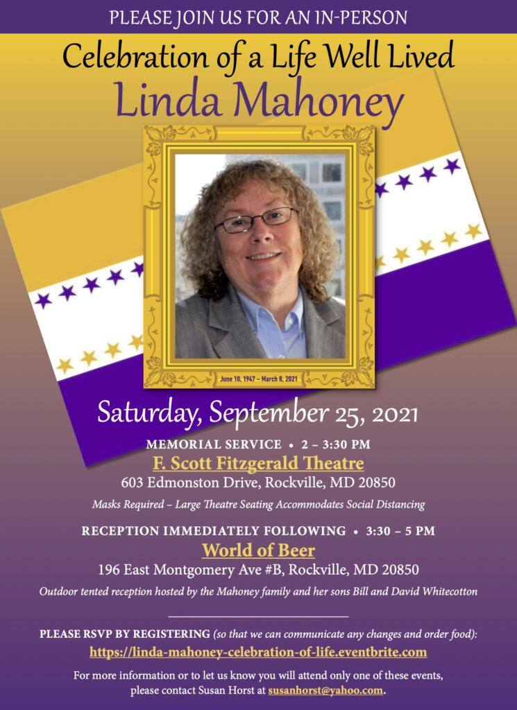 Photo of Linda Mahoney amid suffrage colors of gold, purple and white ; details in caption