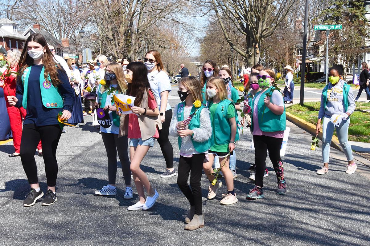 Scout troop parading down Union Avenue