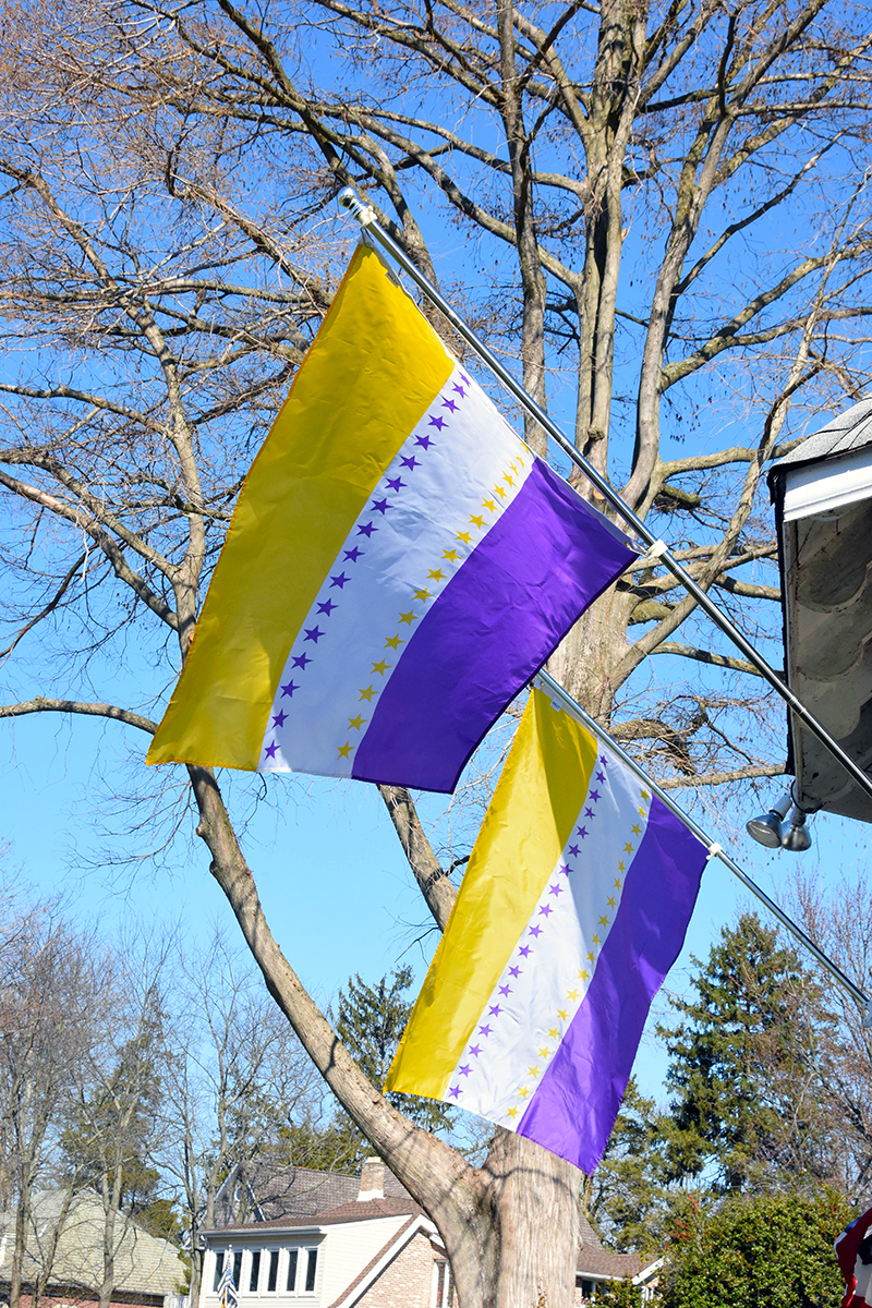Suffrage flags fly from the gazebo