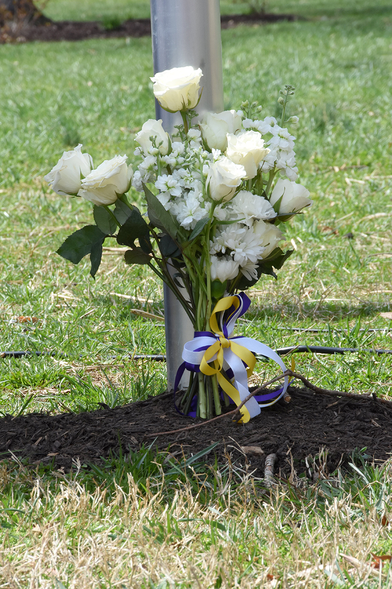 close up of flowers at the base of the marker