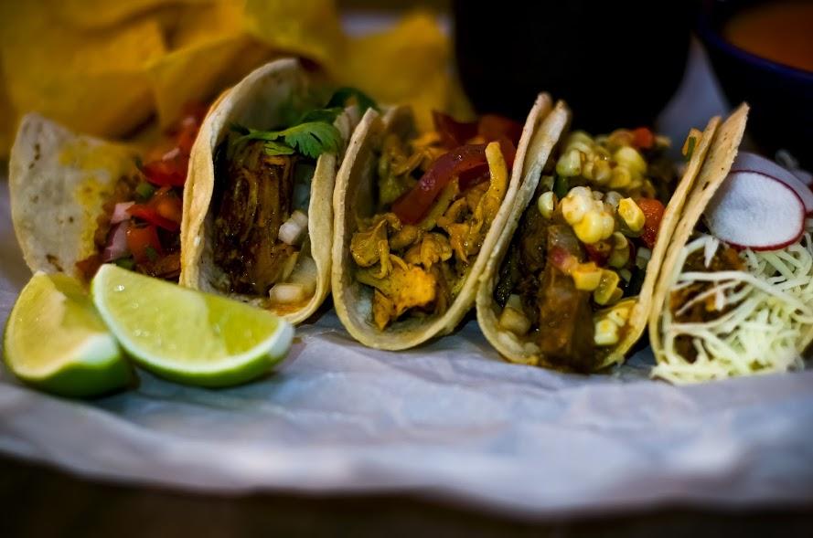 Cochinita Pibil, Mojo Chicken, Goat Barbacoa, Beef Barbacoa, Cauliflower-Wild Mushroom Tacos - Screaming Goat Taqueria