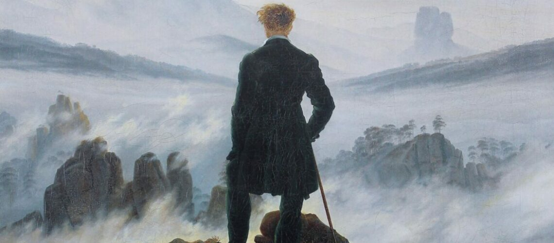 """Wanderer above the Sea of Fog is is by one of the great German Romantic artists, Caspar David Frederich. Some see it as representing the insignificance of a single man against the world, others as a metaphor for uncertainty about the future. I agree with both, but I really like it because a dear friend once described me as """"someone who sits on mountains and tries to make sense of what is going on down in the valley below."""