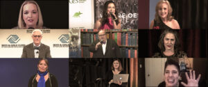 nine closeup images of benefit auctioneers on camera during virtual auctions and two behind the scenes event planners