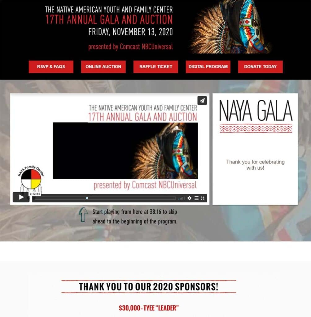 """A screen shot of the landing for Native American Youth and Family Center """"17th Annual Gala and Auction"""""""