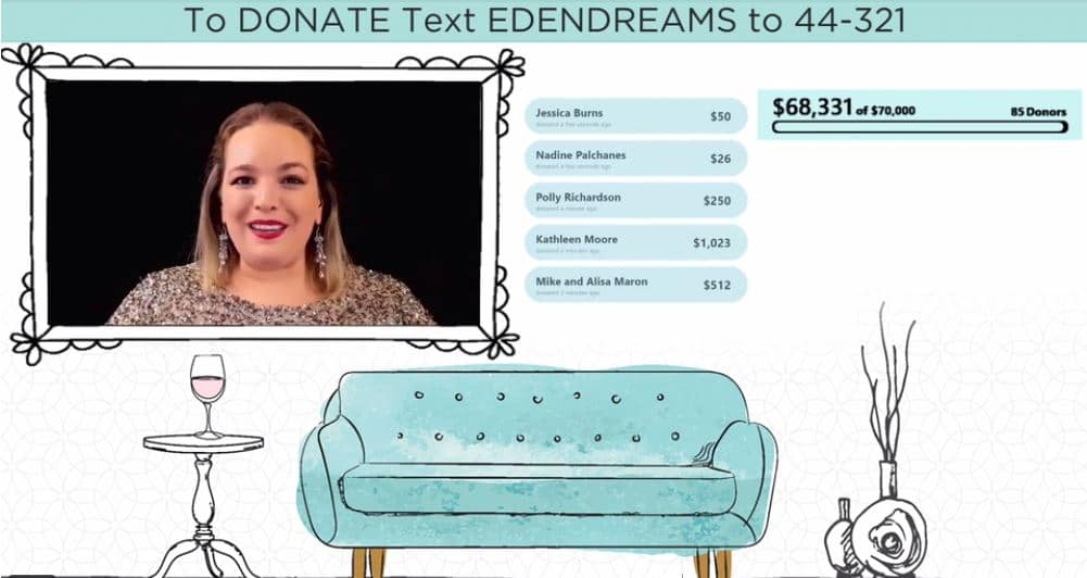 Host of virtual fundraiser is shown as a picture in picture along with donations during the Eden Autism virtual event.