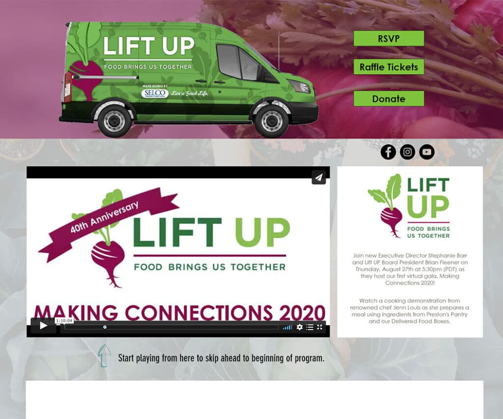 A screen shot of the landing page for Lift Urban: Lift UP Making Connections 2020
