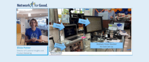 A scene from a Network for Good virtual event shows a behind the scenes photo from the view of the virtual event host
