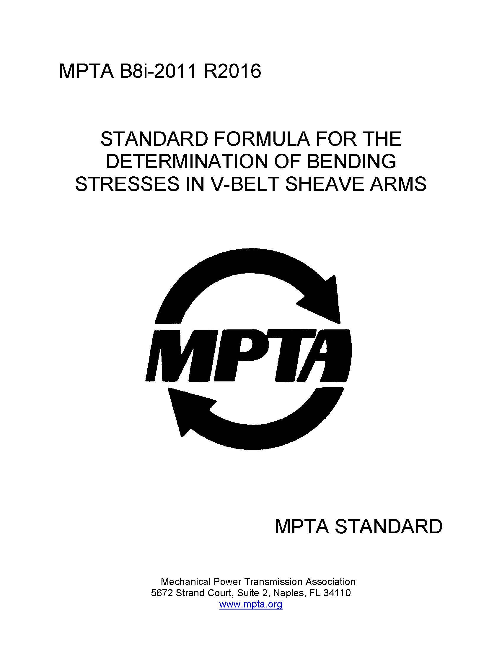 An image of the MPTA standard B8i, Standard Formula for the Determination of Bending stresses in V-Belt Sheave Arms.