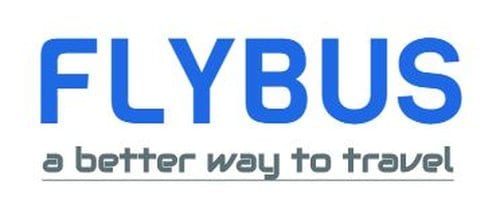 flybus bus hire company logo design blue color text