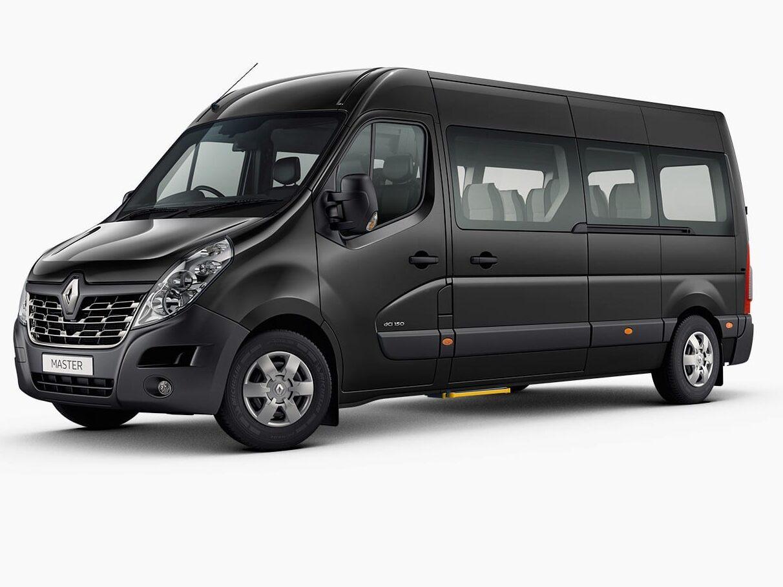 flybus minibus hire fleet masterbus 11 seater minibus black color