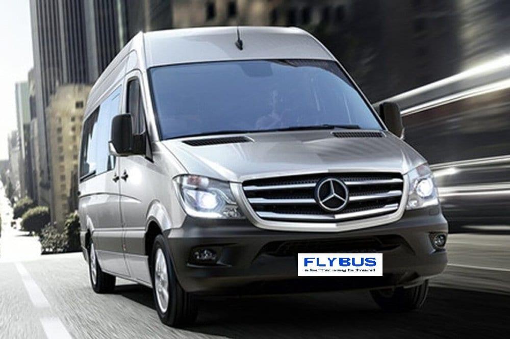 flybus bus hire fleet mercedes-benz sprinter 11 seater minibus silver color