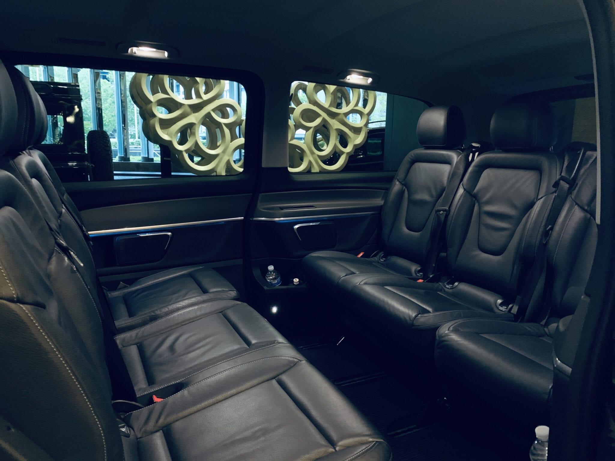 flybus minivan hire fleet mercedes-benz v-class avant-garde black color 7 seater