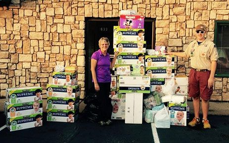 Boy Scout hold Diaper Drive to Earn Eagle Scout