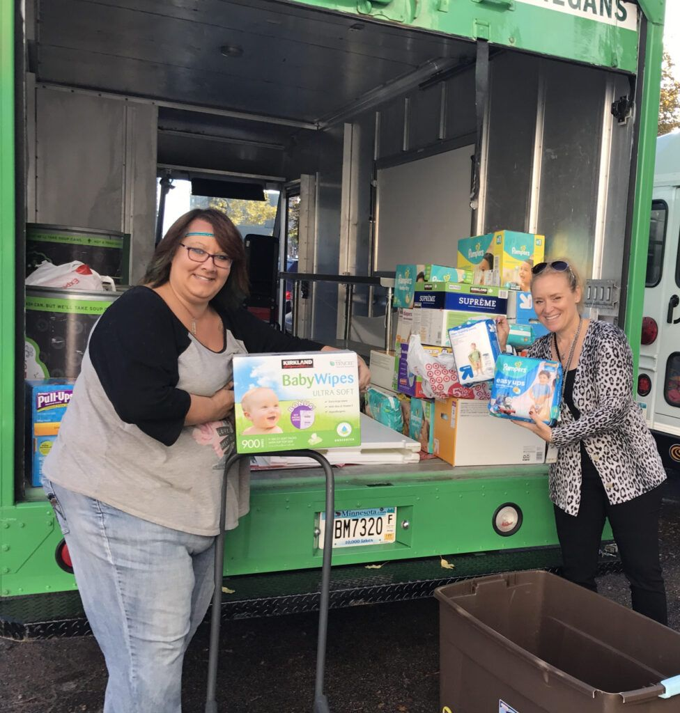 Thrivent Financial's Minneapolis office delivered a truck full of diapers!