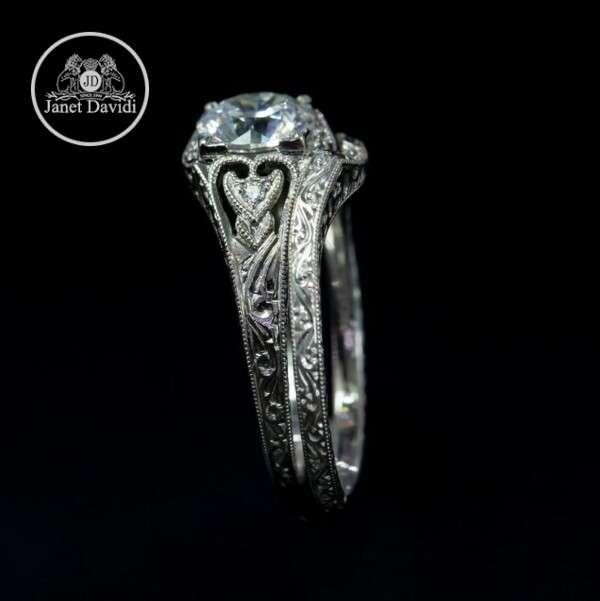 Filigree Mill Grained Edges Wedding Set Ring