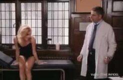 Rowan Atkinson gives Pixie Lott a full body examination