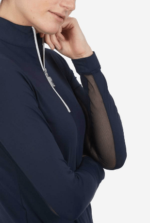 TS navy top with white zip