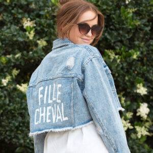 MES X DB FILLE CHEVAL Vintage Painted Denim Cropped Jacket