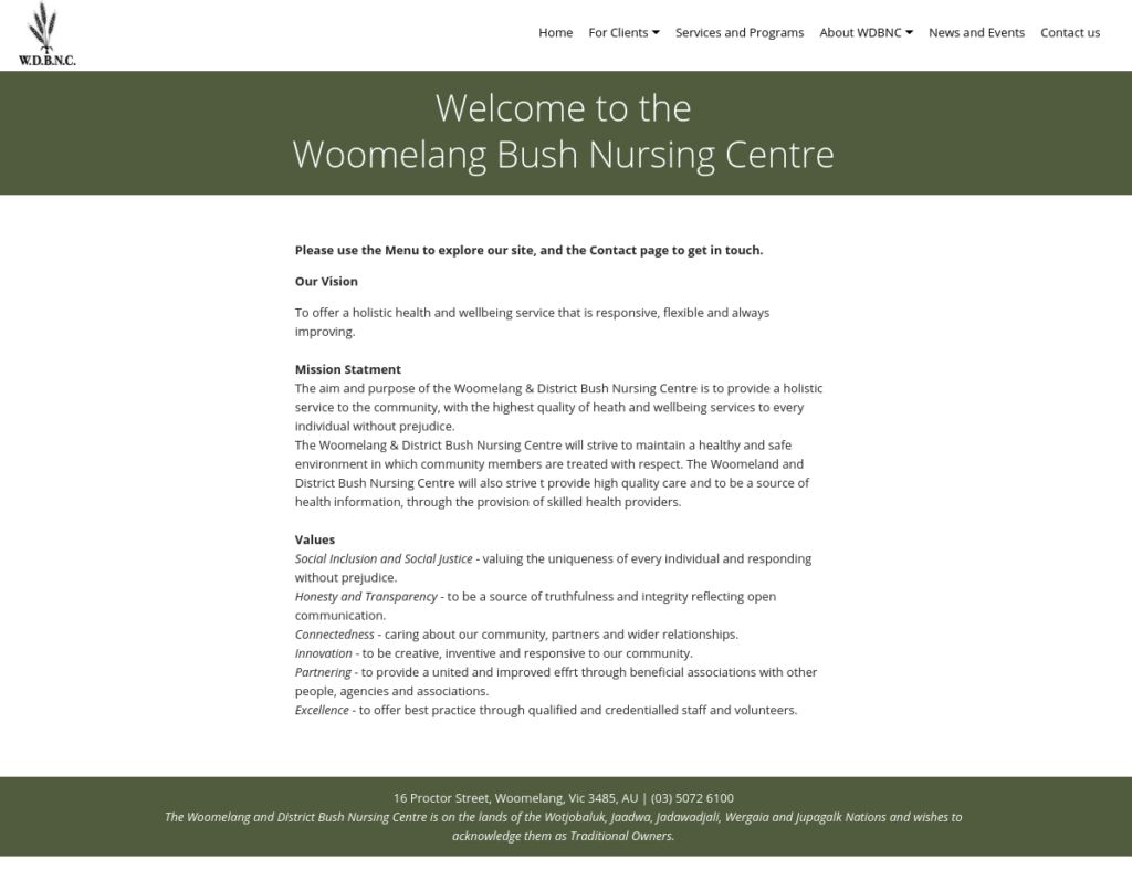 Image of the front page of the Woomelang Bush Nursing Centre website