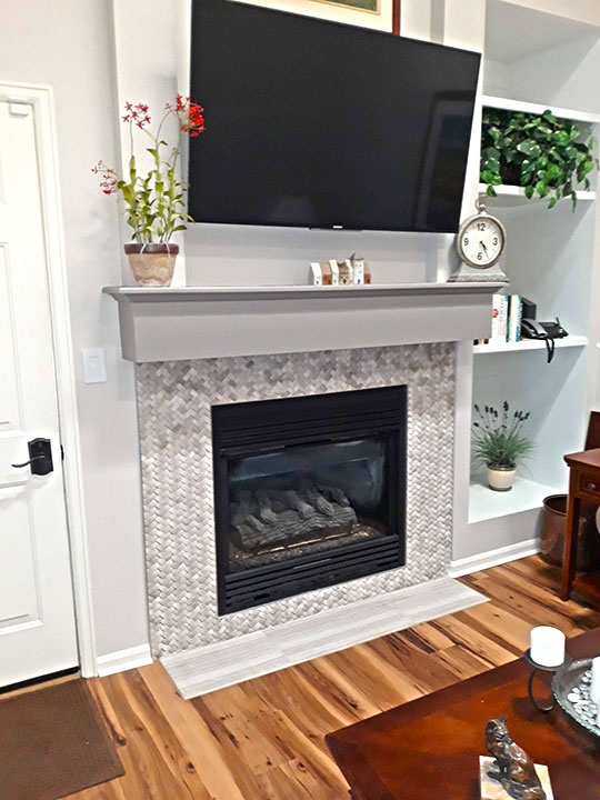 Fireplace with small tiles