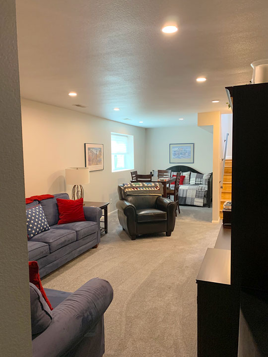finished basement entertainment room