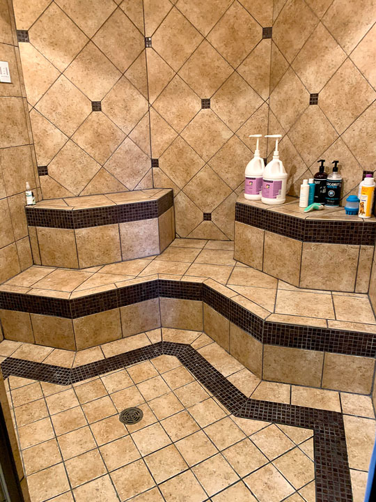 Bathroom shower tiled
