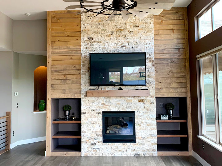 living room fireplace construction