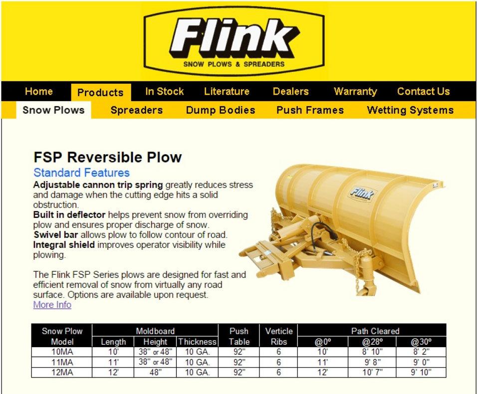 image of flink snow plows brochure