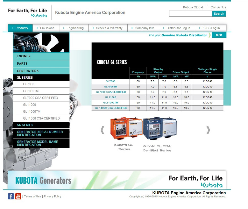 image of kubota generators brochure
