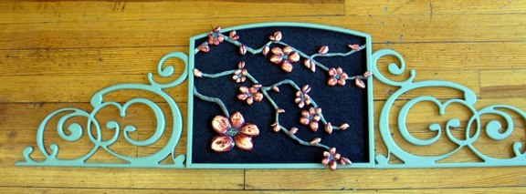 Specialty Hand-Carved Flowers with Copper Leaf