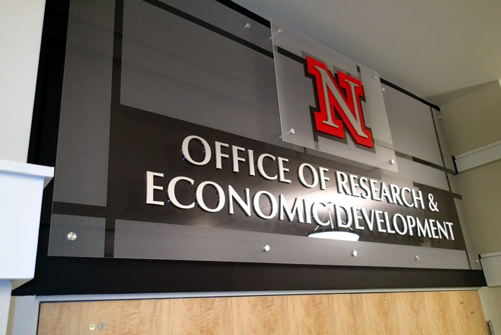 Multi-layer Stacked Sign with Frosted Plexi, Dimensional Letters and Stand-off Mounts