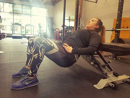 Dumbbell Glute Bridge (On a Bench) Position 1