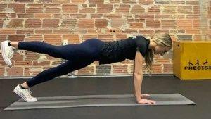 Leg lift push up in upper position