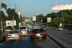 Traffic Jam during rush hour along the Great East Road in Lusaka.