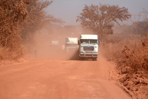 The trucks caused so much dust on the Chingola Solwezi Road.