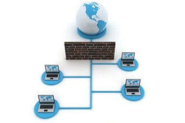 Managed Firewall - Graphic of World, firewall and four connected computers