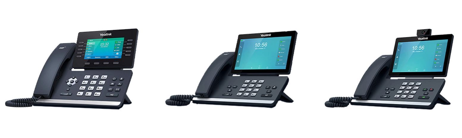 Three Yealink telephones for business phone system