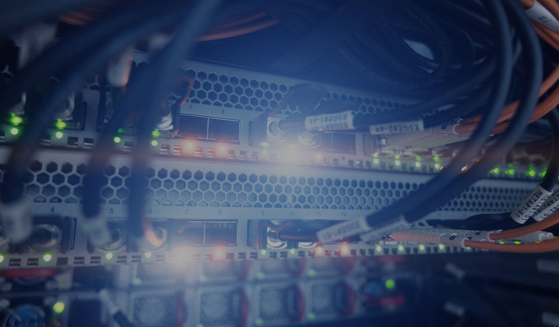 A view of a server with data and voice cabling