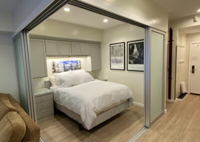 Sleeping Area with sliding privacy wall