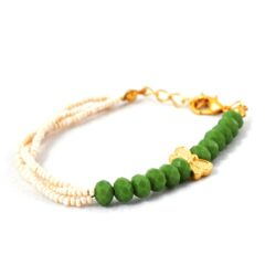 18k Gold Plated, Aventurine and Fresh Water Pearl,Butterfly Bracelet