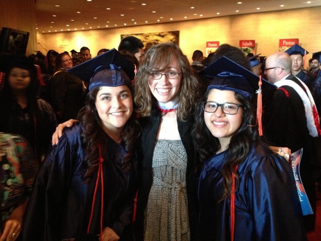 Pictured: Alejandra Garcia (L), currently a freshman at UH; Barnes (C); Lesley Mar (R) a freshman at Trinity University