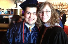 Barnes pictured with former student, Junior Avalos who is currently a Freshman at St. Olaf University