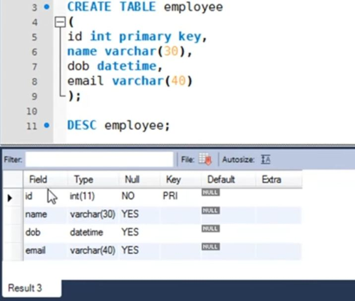 Table creation sample in SQL