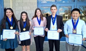 Huhn-2017-18-Central-finalists-Gabrielle Jasso, Katelyn Perez, Mia Giannandrea, Zach Robinson, Daniel Chen